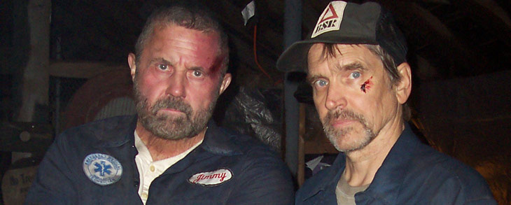"Hodder and Moseley on the set of ""Old 37"""