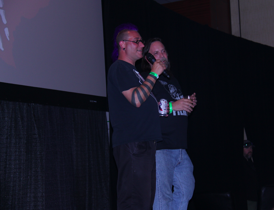Marcus Koch and Stephen Biro answer audience questions during the Bloodshock screening at TFW