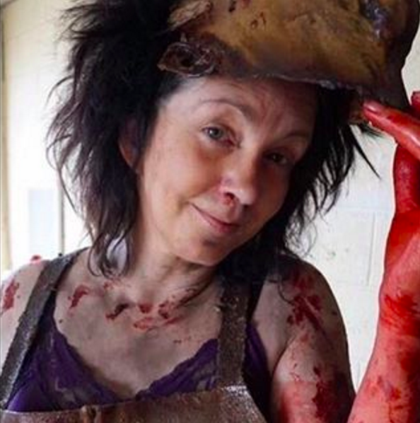 Debbie behind the scenes of Death House