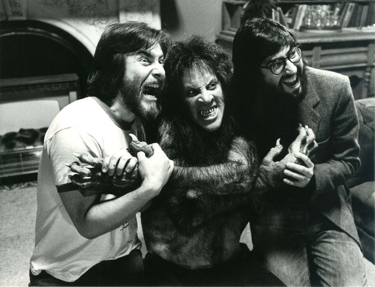 Rick Baker, David Naughton, and John Landis on the set of American Werewolf in London